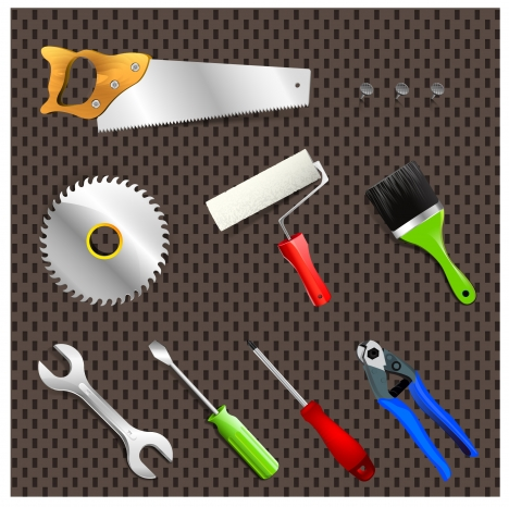 vector illustration of collection of household tools