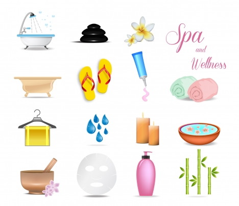 vector illustration of colored icons of spa appliances