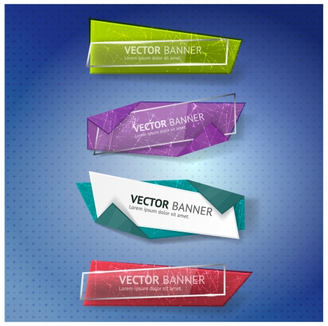vector illustration of colorful origami banners collection
