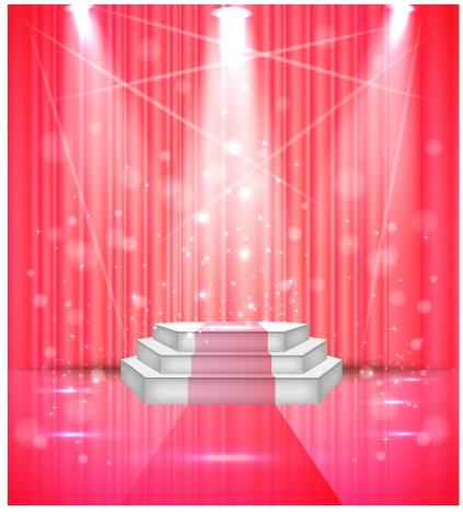 vector illustration of sparkle stage under limelight