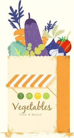 vegetable stores advertisement multicolored retro design