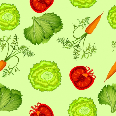 vegetables background salad carrot pomegranate icons repeating design