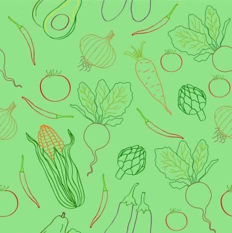 vegetables pattern outline repeating flat decoration