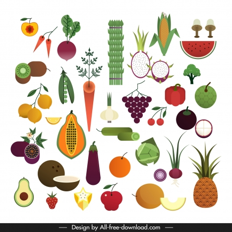 vegetarian ingredients icons colorful objects sketch