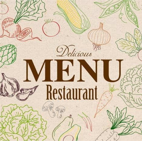 vegetarian menu template vegetable icon sketch