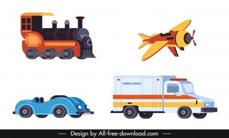 vehicles icons train airplane car ambulance sketch