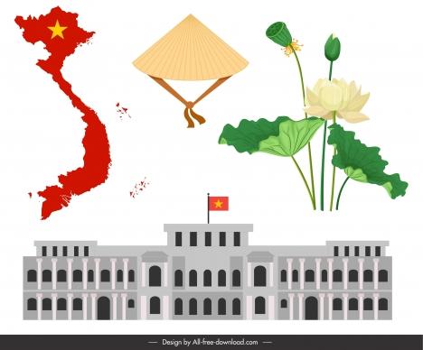vietnam design elements map costume lotus architecture sketch