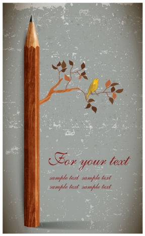 vintage abstract card design with pencil and tree