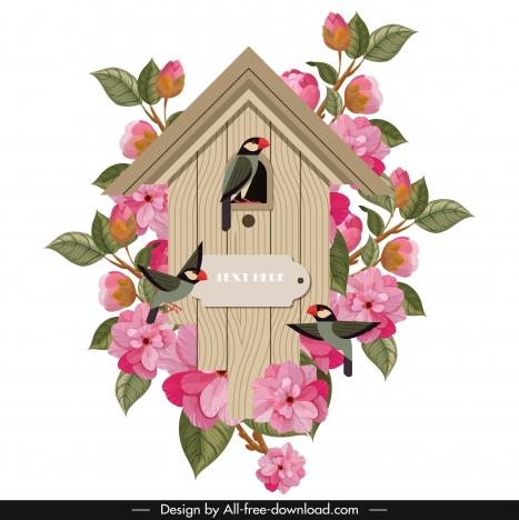 vintage clock template flora birds wooden cottage shape