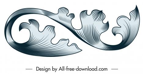 vintage design element elegant curved shape
