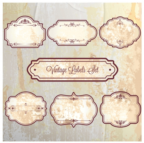 vintage frame labels sets on faded background