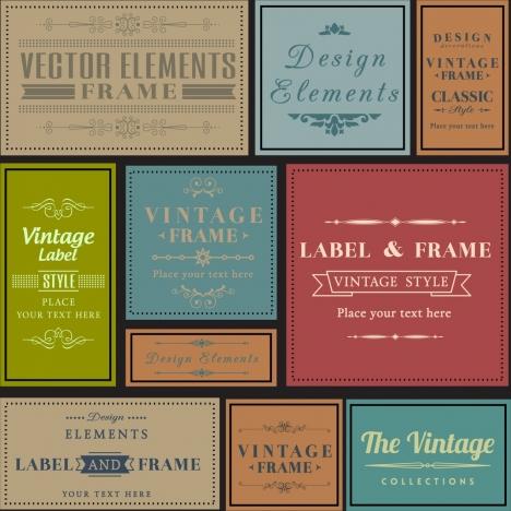 vintage label collection multicolored flat design