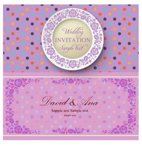 violet background wedding card