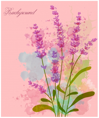 violet flowers on pink water color background