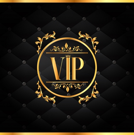 vip background golden text decorative circles black backdrop
