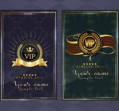 vip card template golden royal decor classical design