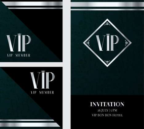 Vip Invitation Card Template Classical Dark Decor Vectors