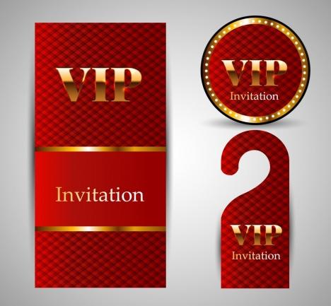Vip invitation card template sets shiny golden red vectors stock vip invitation card template sets shiny golden red vectors stock stopboris Image collections