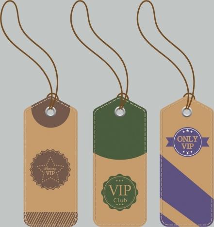 vip tag templates classical colored decor vertical design