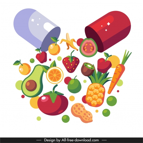 vitamin background capsule fruits sketch colorful dynamic