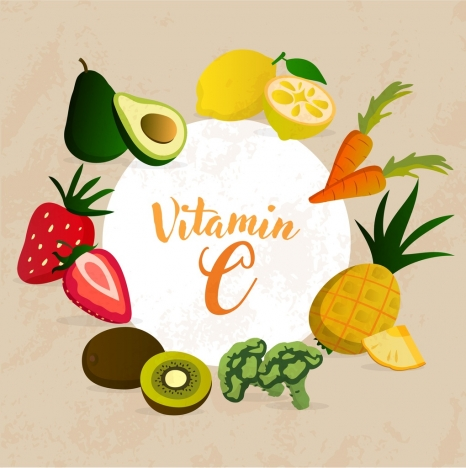 vitamins advertisement colorful fruits icons decoration
