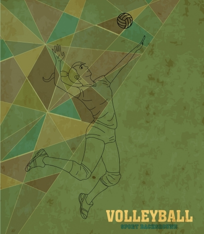 volleyball background female player icon flat polygon sketch