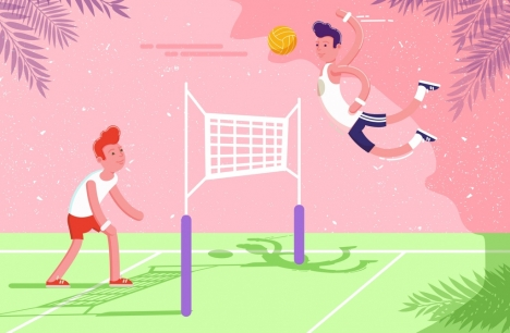 volleyball background male players icons colored cartoon