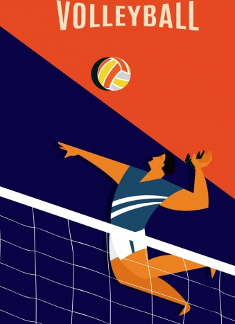 volleyball banner male player icon colored cartoon