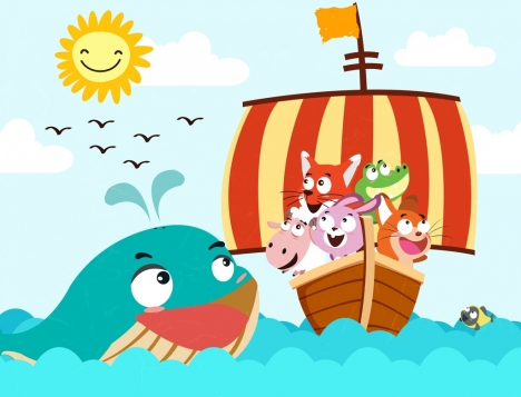 voyage drawing animals ships sea icons cute cartoon