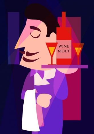 waiter icon wine bottle glass decoration colored cartoon
