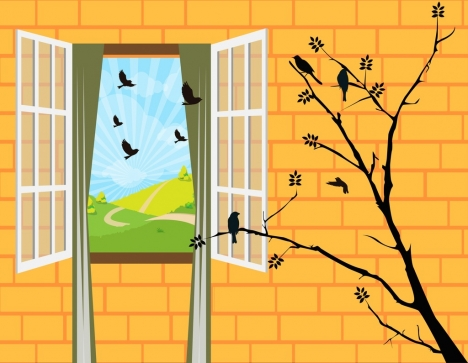 Wall decor template 3d window tree birds icons vectors stock in ...