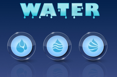 water drops background blue texts shiny circle ornament
