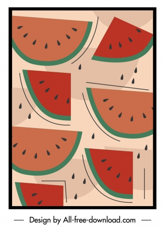 watermelon pattern template flat colored classic decor