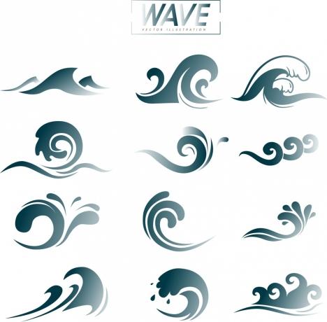 wave design elements curved lines decoration