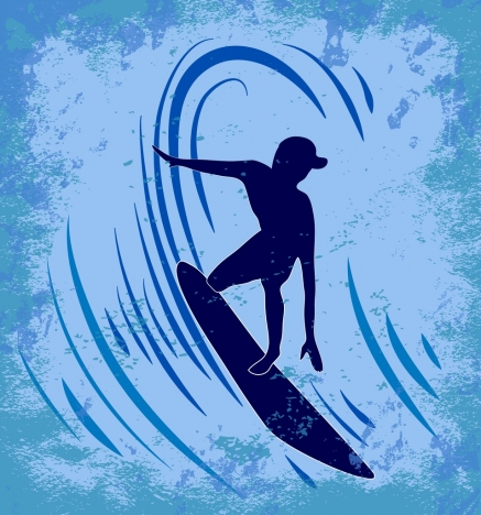 wave surfing sports background grungy retro silhouette decoration