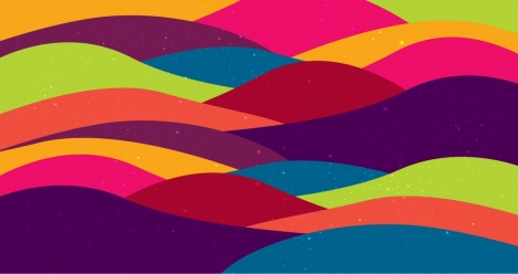 waving background template colorful curves design