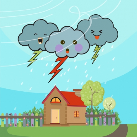 weather background cloud lightning icons cute stylized style