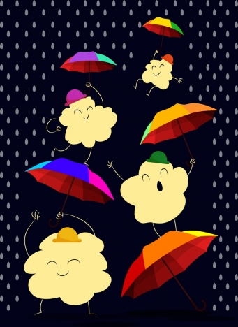 weather background colorful umbrella stylized cloud rain icons