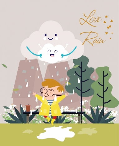 weather background stylized clouds rain kids icons