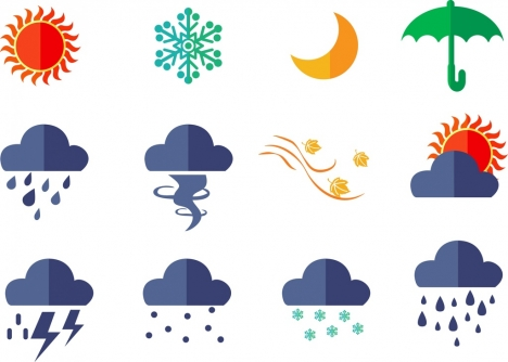 weather icons design elements various flat colored style