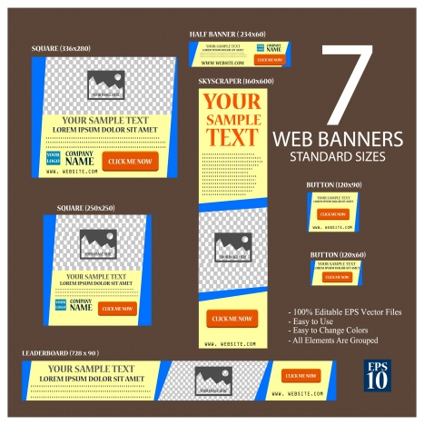 web banners sets illustration with seven standard sizes