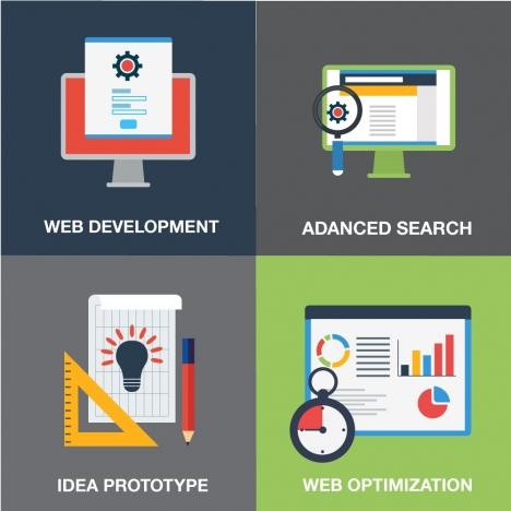 web development elements concepts design in flat style