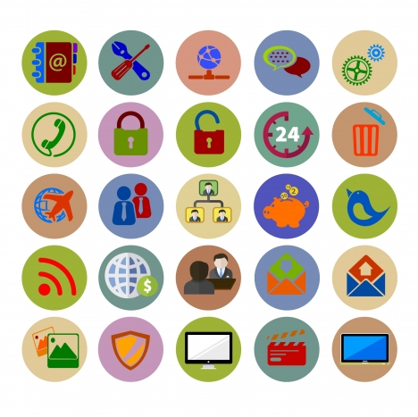 web icons design with various colored flat styles