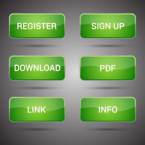 webpage buttons set design with shiny green background
