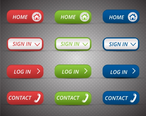 webpage interface buttons sets with classical style