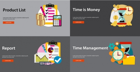 webpage sets design with business features illustration