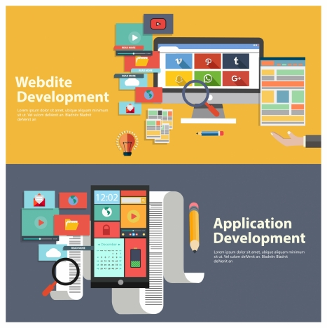 website apps development concepts illustration in colored flat