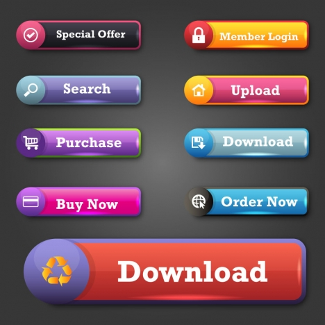 website buttons design with shiny colored tabs