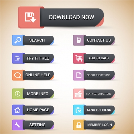 website buttons design with user interface illustration