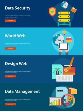 website development elements concepts isolated with web banners